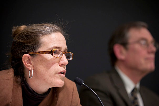 Professor Caroline Elkins, pictured at a panel discussion in March, won a Pulitzer Prize in 2006 for her book detailing the abuse of Kenyans at the hands of the British colonial government during the Mau Mau rebellion of the 1950s.
