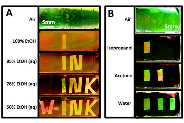 """The """"Watermark Ink"""" technology has only become possible due to a seamless fusion and interaction between chemistry, optics, condensed matter, and fluidics. (A) In the prototype device, the chip appears blank in the air. When dipped in varying concentrations of ethanol, however, it reveals new markings. (B) Because all liquids exhibit a surface tension, this indicator has the potential to be used to differentiate between liquids of any type."""