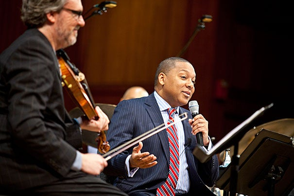 """Wynton Marsalis' second lecture, """"The Double Crossing of a Pair of Heels: The Dynamics of Social Dance and American Popular Musics,"""" will be at Sanders Theatre on Sept. 15. Marsalis' lecture will be accompanied by performances by acclaimed dance professionals Jared Grimes, Nelida Tirado, Eddie Torres Jr., Heather Gehring, and Lou Brockman."""