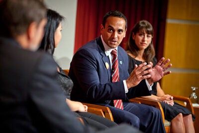The current climate leaves a vacuum for motivated leaders to charge into to help solve society's problems at a local, national, or even international level, said Somerville Mayor Joseph A. Curtatone (center). Curtatone was among a group of illustrious alumni at the Harvard Kennedy School who discussed the challenges and rewards of a career in public service. The talk was a kickoff for the Kennedy School's 75th anniversary.