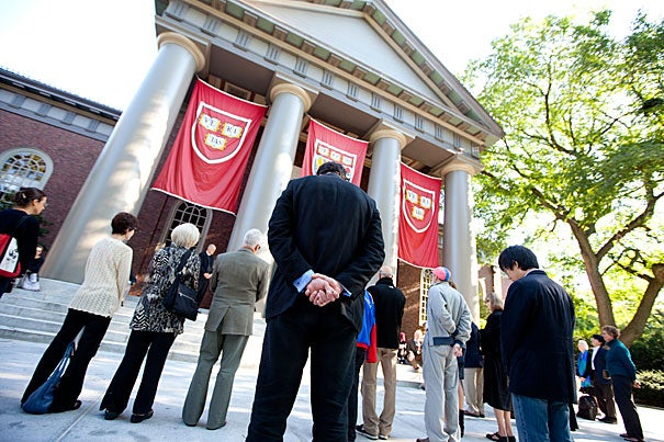 "A ""Moment of Interfaith Prayer and Reflection"" was held on the steps of the Memorial Church in Harvard Yard at 8:46 a.m., the exact time that American Flight 11 crashed into the north tower of the World Trade Center."
