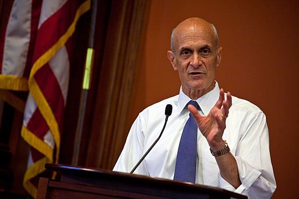 "The increase in ""ungoverned space,"" where there is no true rule of law, has enabled terrorists to recruit, plan, and train unhindered, said Michael Chertoff at a Harvard Law School talk. That reality requires a policy-driven security solution, one that addresses concerns about the consequences, the constraints, and the ""art of the possible"" in combating terrorism, he said."