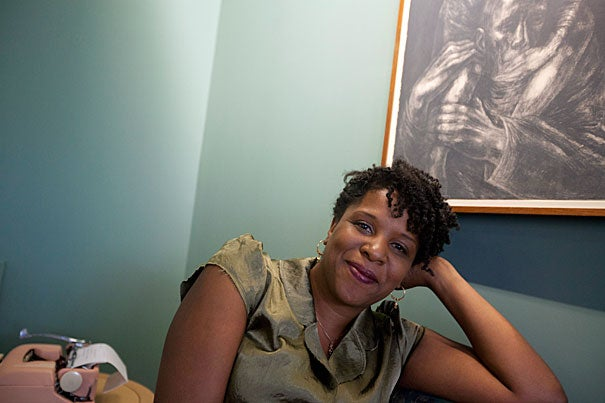 """Tayari Jones, a Radcliffe Fellow this year, has recently published the novel """"Silver Sparrow"""" but is at work writing another novel on her pink typewriter."""