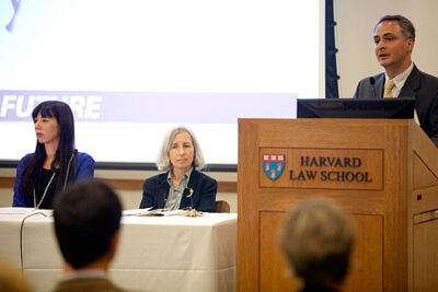"The Harvard Law School/Brookings Project on Law and Security kicked off in September with the conference ""Law, Security, & Liberty after 9/11: Looking to the Future,"" which featured Gabriella Blum (from left), Rita E. Hauser Professor of Human Rights and Humanitarian Law and co-director of the program, Harvard Law School Dean Martha Minow, and Benjamin Wittes, senior fellow at the Brookings Institution."
