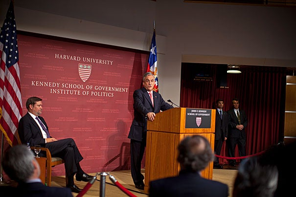 Latin American nations have missed major opportunities to make their mark on the world stage, Chilean President Sebastián Piñera told the audience at Harvard Kennedy School. Blessed with large amounts of land and ample natural resources ... Latin America has nonetheless failed to produce the economic growth and resulting prosperity of industrialized nations. Harvard Kennedy School Dean David T. Ellwood (left) introduced Piñera at Friday's forum.