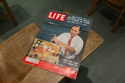 "At the exhibit ""Cold War in the Classroom,"" you can flip through the Life magazine issue of March 31, 1958, and get a glimpse of pre-Sputnik fear: an article about the ""underdog profession"" of high school science teaching, in peril during a race to domination against the Soviets."