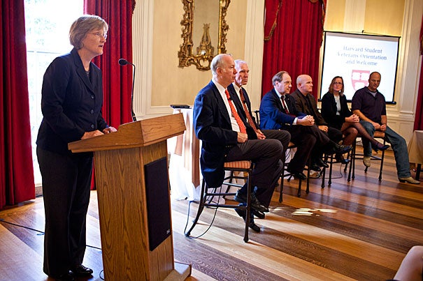 """""""As soldier-scholars you will shape the future not only of Harvard but also the world,"""" said President Drew Faust during Harvard's first-ever orientation for student veterans at Loeb House."""