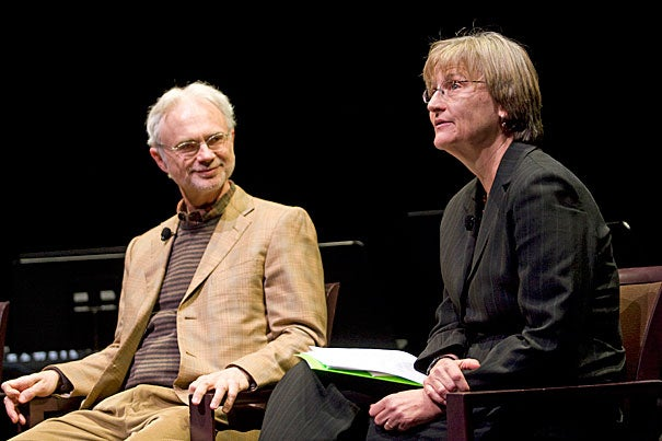 "John Adams '69, A.M. '72 (left), and President Drew Faust will be reunited onstage in November for a panel discussion on ""Nixon in China."" They will joined by fellow alums Peter Sellars '80, librettist Alice Goodman '80, and A.R.T. Director Diane Paulus '88.  The event is part of Harvard's 375th anniversary."