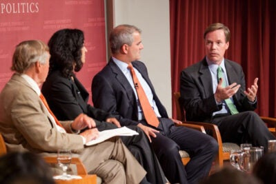"""Graham Allison (from left), director of the Belfer Center for Science and International Affairs, was moderator of the Harvard Kennedy School Forum """"9/11: Ten Years On."""" Panelists Juliette Kayyem, Michael Leiter, and R. Nicholas Burns agreed that the U.S. needed to shift from a military-driven """"global war on terror."""" """"What we need is to see the return of diplomacy as the major way that we interact with the rest of the world. The military was asked to do too much,"""" Burns said."""