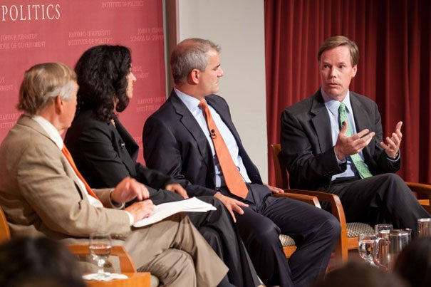 "Graham Allison (from left), director of the Belfer Center for Science and International Affairs, was moderator of the Harvard Kennedy School Forum ""9/11: Ten Years On."" Panelists Juliette Kayyem, Michael Leiter, and R. Nicholas Burns agreed that the U.S. needed to shift from a military-driven ""global war on terror."" ""What we need is to see the return of diplomacy as the major way that we interact with the rest of the world. The military was asked to do too much,"" Burns said."
