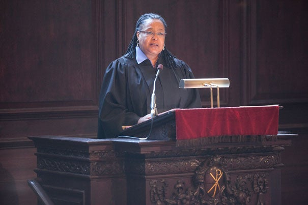 "Students should stretch beyond their comfort zones to make Harvard a truly inclusive place, said Harvard College Dean Evelynn M. Hammonds during Morning Prayers at the Memorial Church. The dean noted that the College's new ""Class of 2015 Pledge"" was an important part of the effort to encourage them to do so."