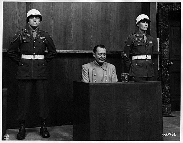 In addition to the digitized documents in the Nuremberg Trials Project, the Harvard Law School Library also has material relating to the international military tribunal, available through Harvard's online catalog of visual images. In this 1946 photo, Hermann Goring, the commander-in-chief of the Luftwaffe, sits flanked by two military officers in the Nuremberg courtroom.
