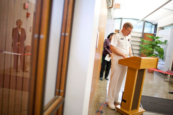 """U.S. Navy Capt. Curtis R. Stevens said the new office at Harvard was """"a tangible statement … that the education of future military leaders is an important function of a great university."""""""