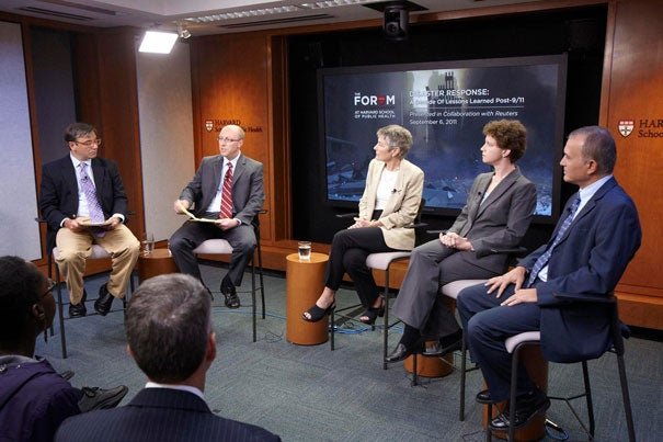 """""""Disaster Response: A Decade of Lessons Learned Post 9/11"""" was presented as part of the Forum at Harvard School of Public Health. Moderated by Reuters correspondent Aaron Pressman (from left), it included Stefanos Kales, Jennifer Leaning, Stephanie Kayden, and Isaac Ashkenazi."""