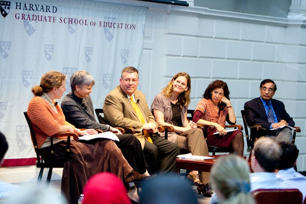 Panelists said that a broad cultural and religious literacy, a historical context, and a focus on empathy are all important elements of teaching 9/11 in the classroom. Meira Levinson (from left) moderated panelists Diane L. Moore, Christopher Ougheltree, Beverly Gage, Thea Abu El-Haj, and Ali Asani.