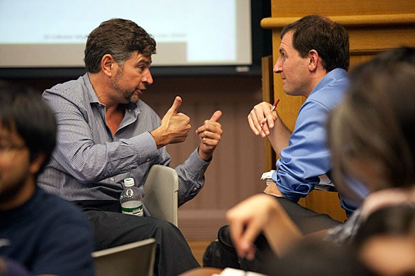 "Richard Olivier (left), son of famed actor Sir Laurence Olivier, delivered the St. Crispin's Day speech from William Shakespeare's ""Henry V"" during ""Negotiation and Conflict Management,"" a course by Harvard International Negotiation Program Director Daniel Shapiro that focuses on the emotional and identity-based aspects of conflict that often confound easy resolution."