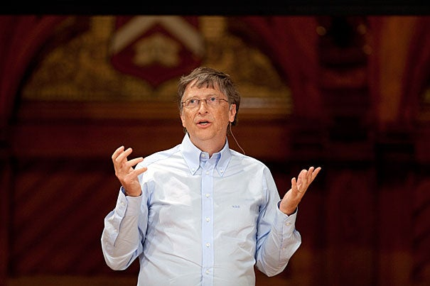 To celebrate the University's 375th anniversary, Bill Gates' address at Commencement — as well excerpts of other famous addresses — will play on loop from trees in Harvard Yard as part of a project called Harvard Voices. The selections reflect Harvard's collective memory and continuing dialogue of ideas.