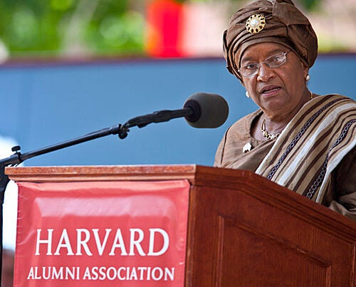 Liberian President Ellen Johnson Sirleaf, who spoke at Harvard's 2011 Commencement, is one of three recipients of the 2011 Nobel Peace Prize for her efforts to promote peace, democracy, and women's rights.