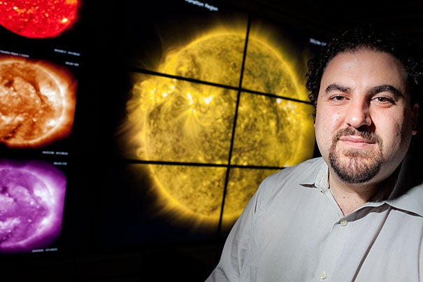 """""""Within 100 kilometers of the visible surface of the sun, temperatures jump by an order of magnitude. When you get up into the solar corona, temperatures are 1 million to 10 million degrees,"""" said Justin Kasper, a solar scientist at the CfA and a lecturer on astronomy, who is heading a team designing two instruments that will fly aboard NASA's Solar Probe Plus as part of a project to investigate the nature of the sun's atmosphere, or corona."""