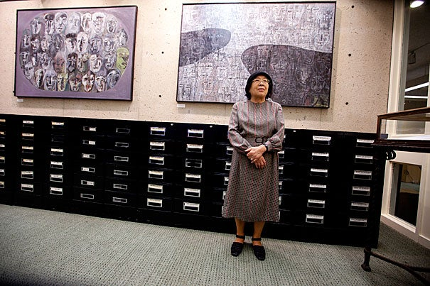 "A new exhibition at the Harvard Graduate School of Education's Monroe C. Gutman Library, ""With Hiroshima Eyes: The Hibakusha Art of Junko Kayashige,"" depicts a series of evocative images inspired by Kayashige's experience as a ""Hibakusha,"" an atomic bomb survivor."