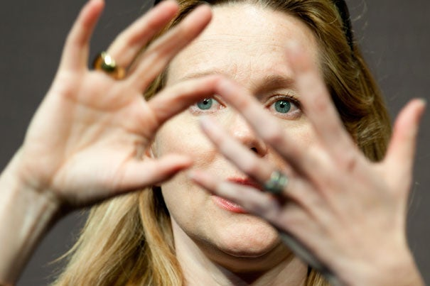 """A scene from the """"The Big C"""" was being shown at the New College Theatre. The actress who delivered the lines, Laura Linney, sat at the front of the room and looked on in distress. """"I try to tell a story as honestly as I can,"""" she said after the clip had finished playing. """"Sometimes I succeed. Sometimes I don't. It's agony for me to watch myself do anything."""""""
