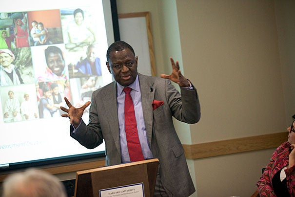 Babatunde Osotimehin spoke at the Harvard Center for Population and Development Studies, where he was a fellow in 1996 and 1997. He described a world that will be transformed in the next few decades. By midcentury, the global population is expected to hit 9 billion, with 70 percent living in cities.