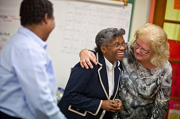 """""""I feel really great about what's going on in this school, and it needs to continue,"""" said Greenwood Principal Maudlin Wright (center) with HASI coach Paula Finklestein (right) and third-grade teacher Betty Solomon."""