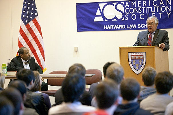 "Legalizing marijuana is one of very few ""issues in America today where the voters are more enlightened than the elected officials,"" said U.S. Rep. Barney Frank, who was invited to campus by the HLS American Constitution Society, where he addressed a packed crowd of law students in Pound Hall."