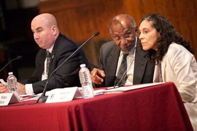 "Building trust is a fundamental part of a police officer's work, said Daniel Linskey (from left), Boston Police Department superintendent-in-chief, during a symposium titled ""Reimagining the City-University Connection: Integrating Research, Policy, and Practice."" Harvard Medical School Professor of Social Medicine Felton Earls and Deborah Allen, director of the Child, Adolescent and Family Health Bureau, also shared on the panel."