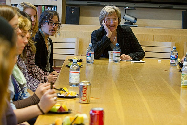 "President Drew Faust offered three principles of great leadership: connectedness, communication, and the ability to accept responsibility. The best leaders ... are willing to say, ""I will own this, and I will give of myself for it,"" Faust told those gathered for the IOP's Women's Initiative in Leadership program."