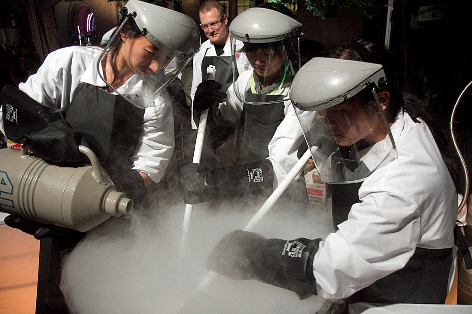 Students from a science and food course made ice cream with liquid nitrogen. Jon Chase/Harvard Staff Photographer