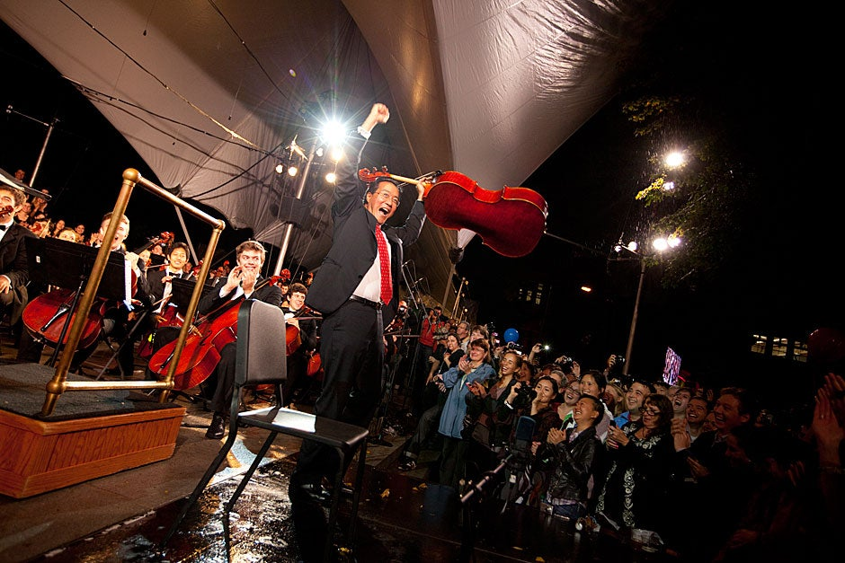 Cellist Yo-Yo Ma wows the crowd. Rose Lincoln /Harvard Staff Photographer