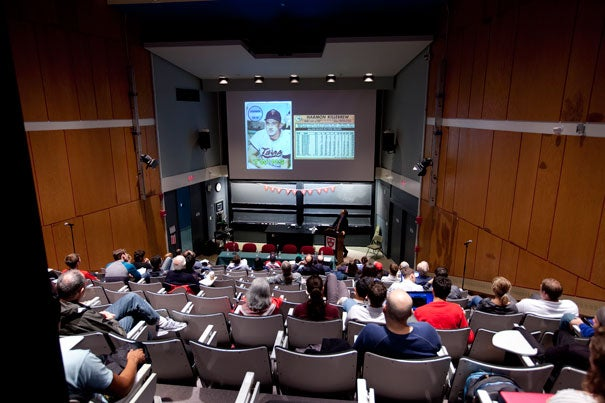 """Harvard Professor Jill Lepore led off a murderers' row lineup of six Harvard professors for """"GenEd at Bat: A Discussion of America's Favorite Pastime with the Faculty of Gen Ed"""" at Science Center A on Tuesday."""