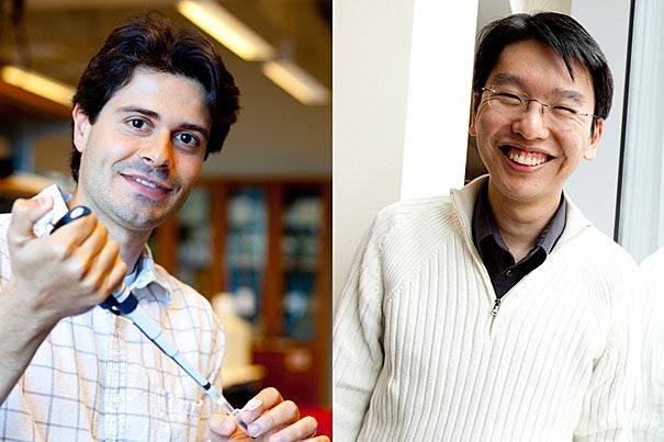 John Calarco (left), a Bauer Fellow at the Faculty of Arts and Sciences Center for Systems Biology, and Harris Wang, a Technology Development Fellow at the Wyss Institute for Biologically Inspired Engineering, were among the first 10 researchers to receive NIH Director's Early Independence Awards.