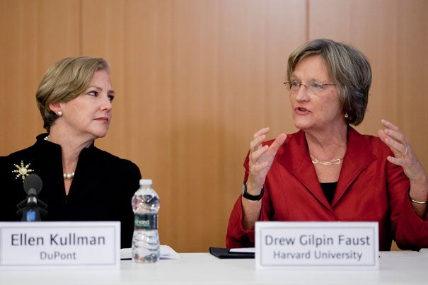 """Ellen Kullman (left), president and CEO of DuPont, listens as Harvard President Drew Faust speaks at a special Washington, D.C., roundtable that brought together university heads and leaders of major companies. """"We face a unique and pressing opportunity to address the future of innovation,"""" Faust said. """"We believe it's important to amplify our collective voices … and describe our shared goals more forcefully and effectively."""""""