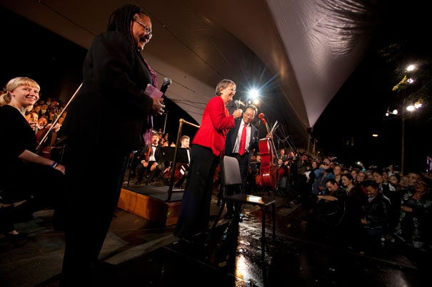 Harvard College Dean Evelynn M. Hammonds (from left), President Drew Faust, and cellist Yo-Yo Ma gathered onstage to help Harvard celebrate its 375th anniversary.