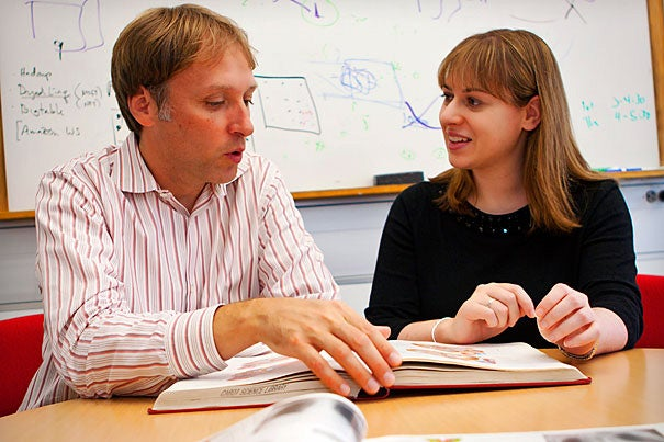 """In the 3-D case, the more complex and branched the arteries were, the longer it took to complete the patient diagnosis, and the lower the accuracy was,"" said lead author Michelle Borkin (right), a doctoral candidate at the Harvard School of Engineering and Applied Sciences. Borkin, SEAS Professor Hanspeter Pfister (left), and their colleagues relied on the input of physicians and others with clinical or laboratory imaging experience throughout the process. Photo by Eliza Grinnell/SEAS"