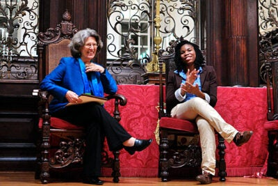 "Dorothy Stoneman '63 (left) was the recipient of the 2011 Robert Coles ""Call to Service"" award for her achievements in social entrepreneurship and public service as the founder and chief executive officer of YouthBuild USA, a national youth and community development program. Sharing the stage with Stoneman at the Saturday evening event was Ekene Obi-Okoye '12, president of the Phillips Brooks House Association."