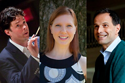 "Three of the University's major arts positions have changed hands. Andrew Clark (from left), Harvard's director of choral activities, Jill Johnson, director of Harvard's Office for the Arts Dance Program, and Federico Cortese, director of the Harvard-Radcliffe Orchestra  ""represent the next generation of leadership in arts practice at Harvard,"" said Jack Megan, director of the OFA."