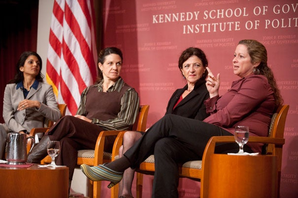 """Women's voices have long been absent from stories of war — and from the process of peacemaking. A group of women scholars and filmmakers gathered at the Kennedy School to explore those untold stories in conjunction with the new PBS series """"Women, War, and Peace."""" The panel included moderator  Sahana Dharmapuri (from left), Elizabeth Medina, Helen Benedict, and Abby Disney."""