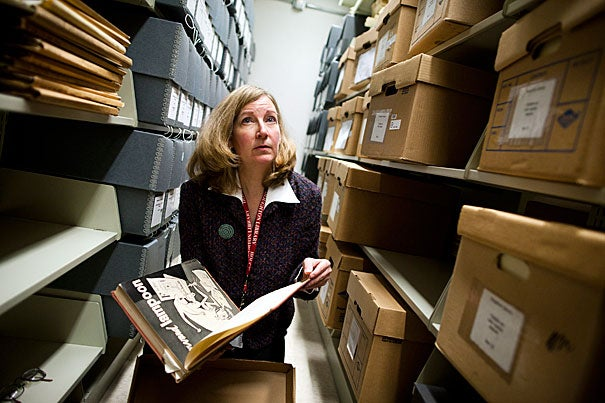 Leslie Morris, the curator of modern books and manuscripts, helps oversee the John Updike Archive at Houghton Library. Once cataloged, his papers will be ready for researchers in the summer of 2012.