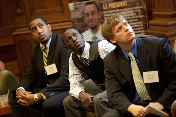 Justin Walker (left) and Muhammed Konneh (center) are interns in Year Up, a one-year training and education program that provides urban youth in Greater Boston with hands-on skill development and internship opportunities, working to close the opportunity divide by providing urban young adults with the skills and support to reach their professional potential. On the right is Jared Thomas, their manager.