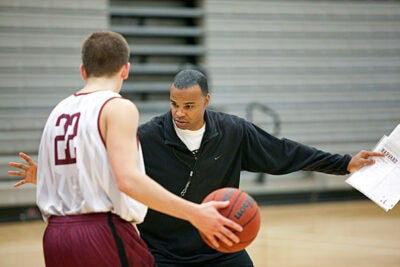 Head Coach Tommy Amaker practices with the Crimson, who have improved to 6-0 for the first time since the 1984-85 season.