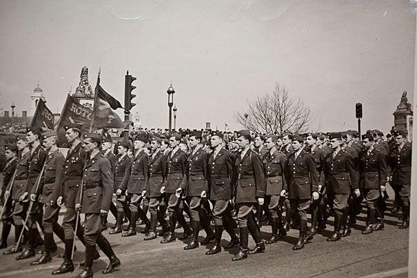 A Harvard Army ROTC unit on parade along Memorial Drive, July 1943.