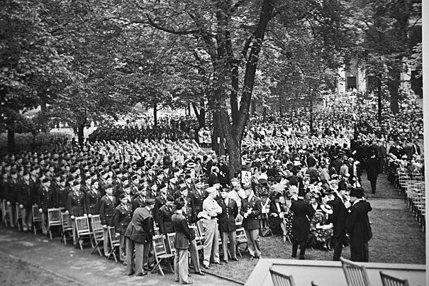 Harvard's Commencement in 1943 reflects the military presence.