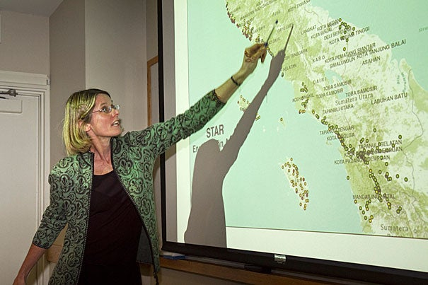"Elizabeth Frankenberg (above) led a team of researchers in conducting five annual follow-up surveys of 2004 Indian Ocean tsunami survivors. ""You can't look at a disaster and think of recovery in months,"" Frankenberg said."