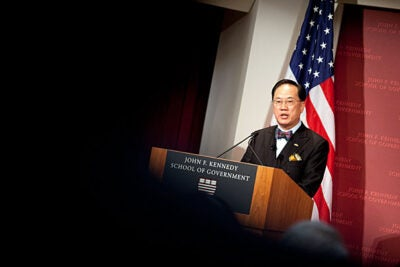 """In some ways Hong Kong has had an easier time over the past decade than many other economies,"" Donald Tsang told his Harvard Kennedy School audience. ""Our freedom from public debt, our position beside China's growing economy, our prudent banking supervision — these have all helped to cushion us from some of the shocks that have come our way."""