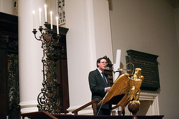 """University of Aberdeen scholar Russell Re Manning, who delivered the fall's Paul Tillich Lecture at the Memorial Church, has a goal — to update Tillich's theology of art and culture. That requires """"re-enacting"""" threads of thought that were shaped by Weimar Germany eight decades ago to make them resonate in the 21st century, said Re Manning."""