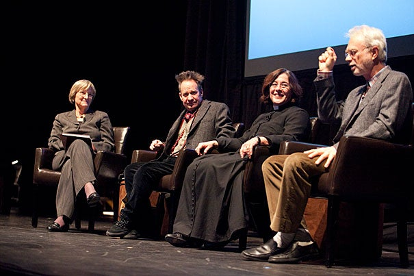 "President Drew Faust (left) moderated a panel discussion on the groundbreaking opera ""Nixon in China."" ""'Nixon' was for us an anti-opera. None of us were opera insiders,"" said director Peter Sellars '80 (second from left), who first floated the idea with his friend John Adams '69, A.M. '72 (far right). ""Nixon in China"" librettist Alice Goodman '80 (second from right) joined her fellow alums onstage at the American Repertory Theater for the discussion, which is part of a series of yearlong events marking Harvard's 375th anniversary."