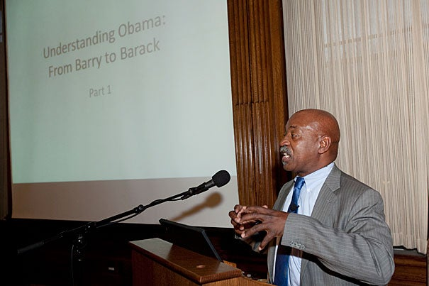 """Obama's sense of racial identity came largely from his mother. """"She was instrumental in telling him who he was,"""" Charles Ogletree Jr. told his audience during the first of a three-part lecture series titled """"Understanding Obama."""""""
